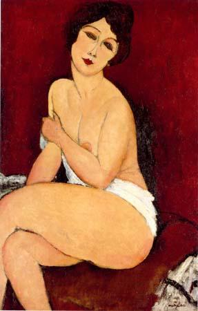 """Nu assis sur un divan (la Belle Romaine)"" pintado por Modigliani en 1917"