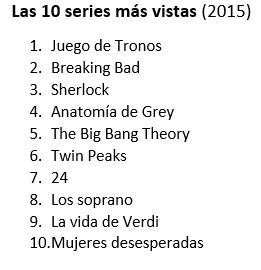 Las 10 series más vistas 2015a